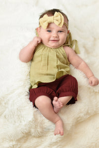 Tan Top with Shoulder Ties & Red Shorts Set