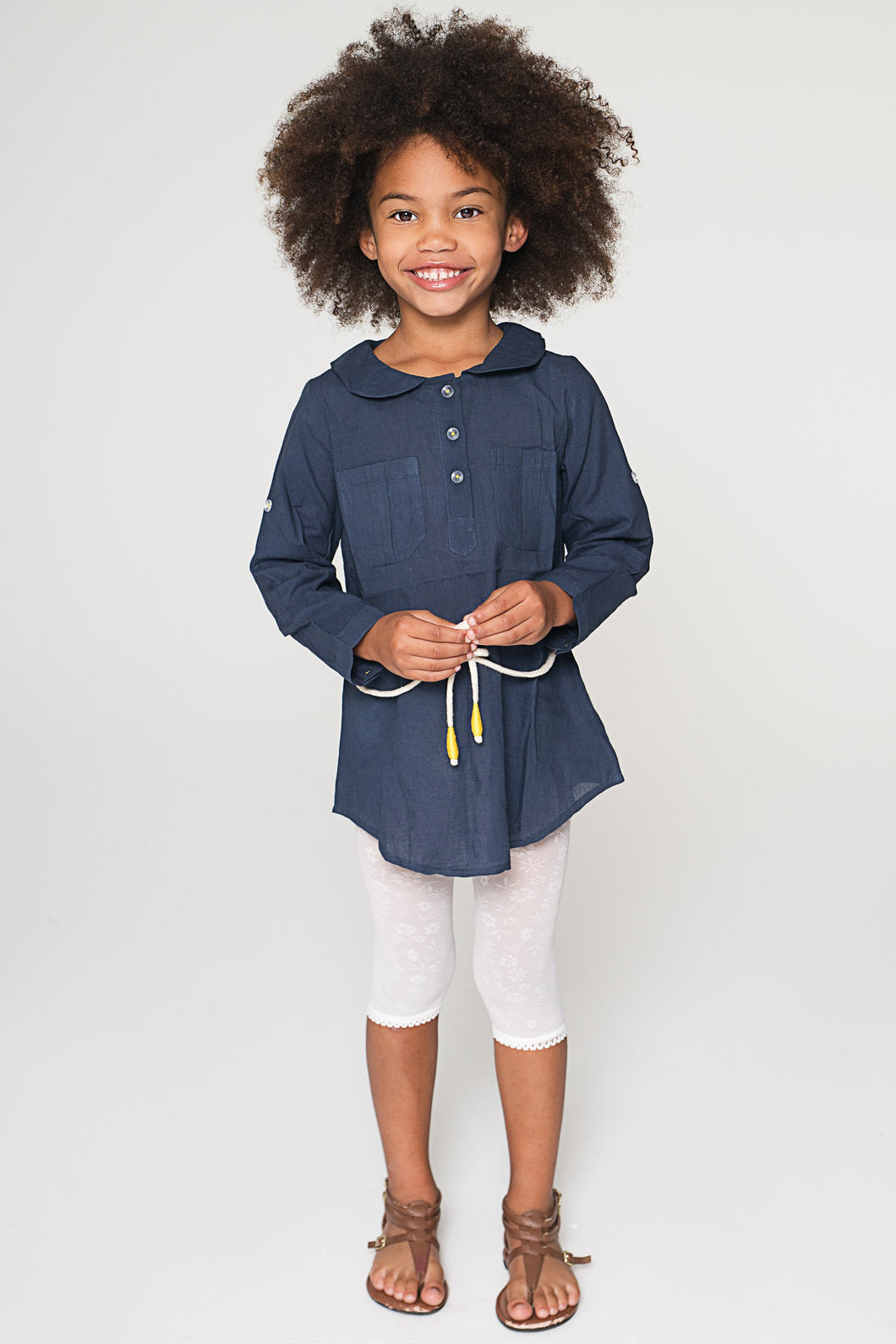 Navy Peter Pan Collar Tunic with Rope Belt
