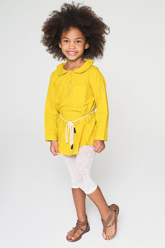 Yellow Peter Pan Collar Tunic with Rope Belt