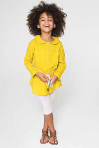 Yellow Peter Pan Collar Tunic with Rope Belt - Kids Clothing,  - Girls Dress, Yo Baby Online - Yo Baby