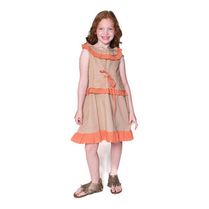 Beige and Orange Dress - Kids Clothing, Dress - Girls Dress, Yo Baby Online - Yo Baby
