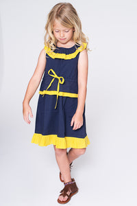 Navy and Yellow Dress - Kids Clothing, Dress - Girls Dress, Yo Baby Online - Yo Baby