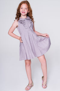 Lavender Dress with Frill Detail - Kids Clothing, Dress - Girls Dress, Yo Baby Online - Yo Baby