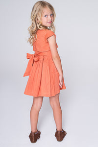 Peach Flounce Dress with Back Tie - Kids Clothing, Dress - Girls Dress, Yo Baby Online - Yo Baby