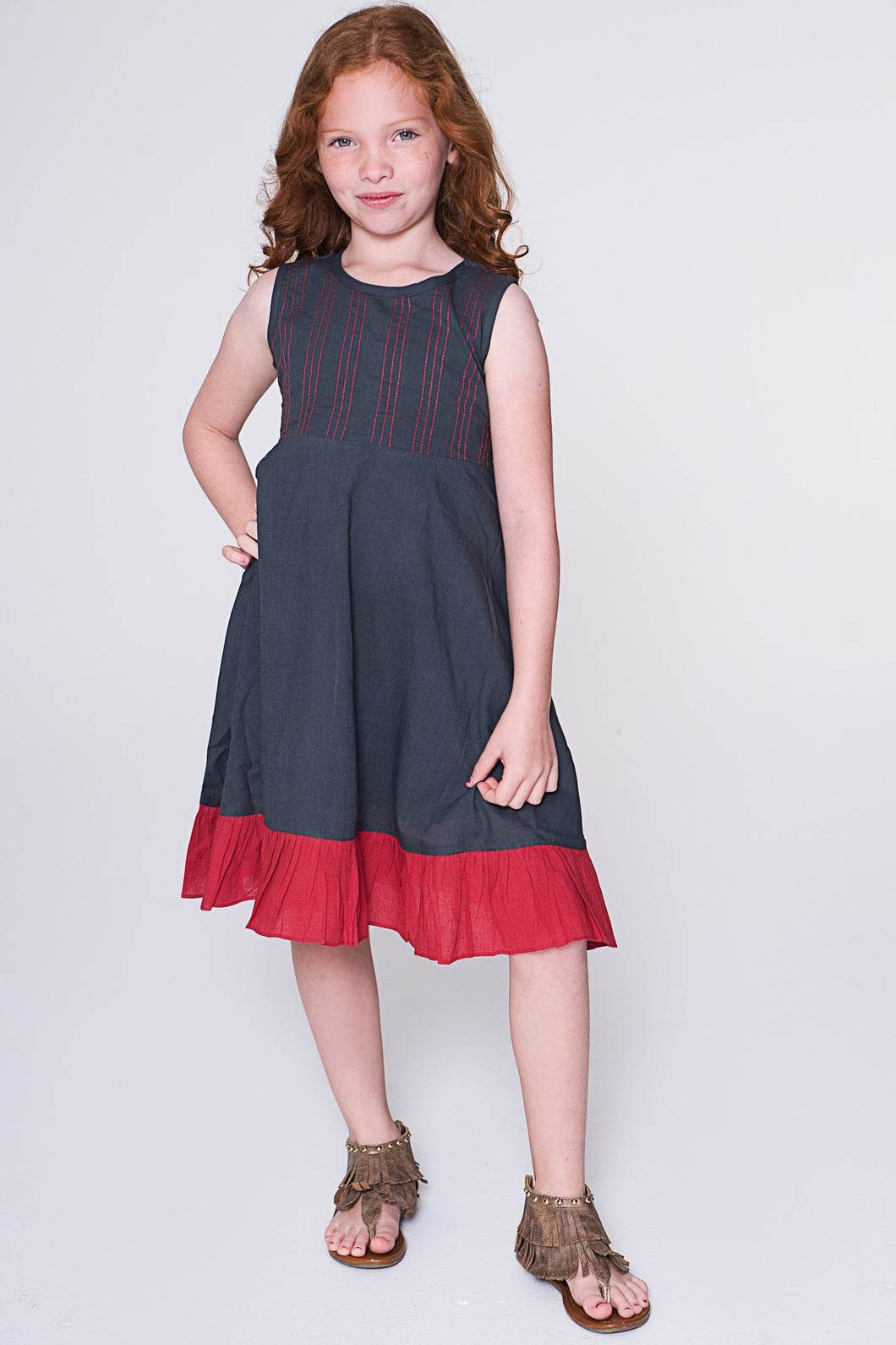 Grey & Red Contrast Stitch Shift Dress - Kids Clothing, Dress - Girls Dress, Yo Baby Online - Yo Baby