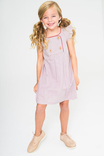 Lavender Shift Dress With Button Detail and Red Trim - Kids Clothing, Dress - Girls Dress, Yo Baby Online - Yo Baby