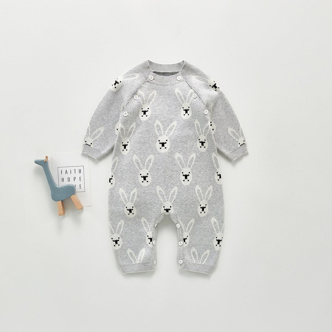 Grey Knitted Rabbit Print Sweater-Romper - Unisex
