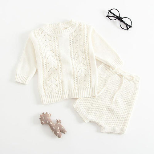 Unisex Knitted Sweater Top & Pants Set - White
