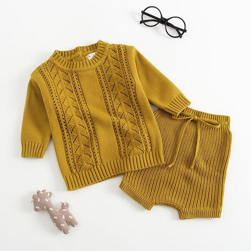 Unisex Knitted Sweater Top & Pants Set - Mustard