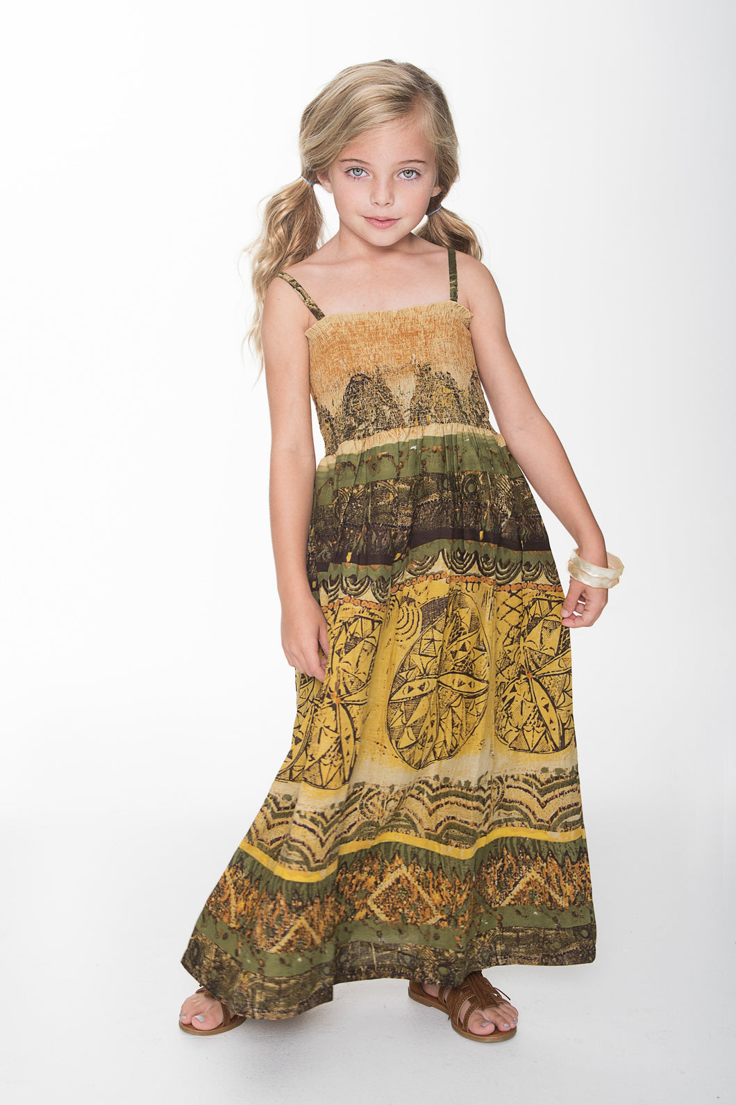 Mustard and Green Maxi Dress - Kids Clothing, Dress - Girls Dress, Yo Baby Online - Yo Baby