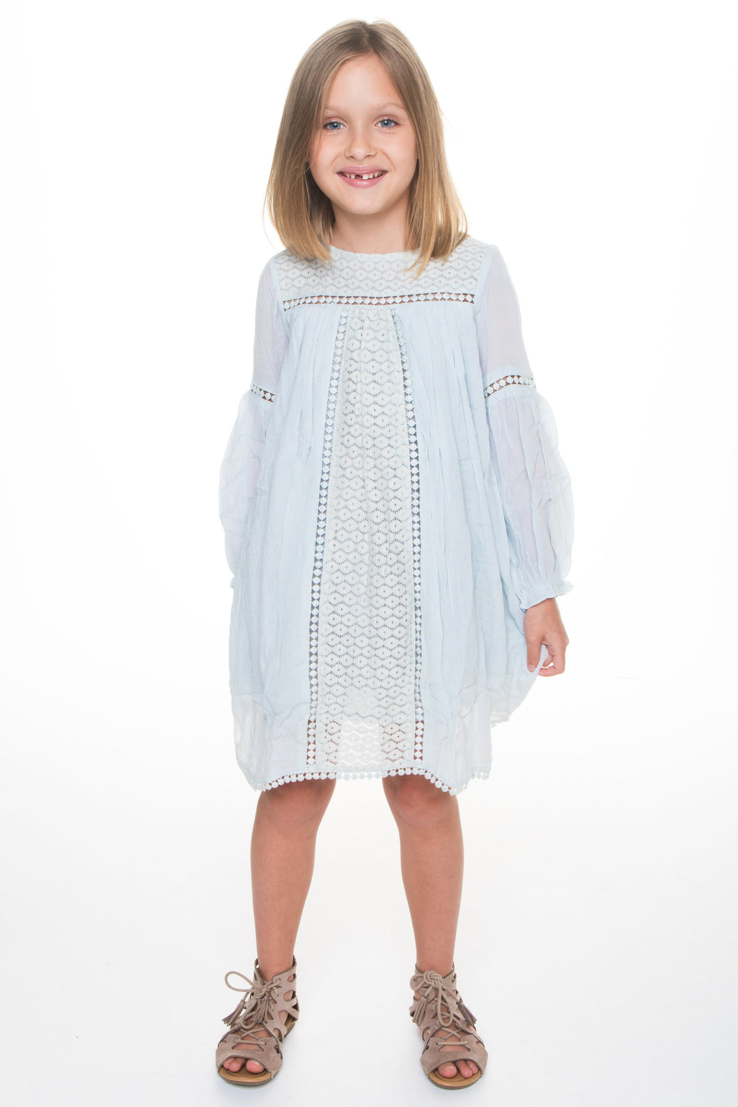 Light Blue Lace Detail Dress - Kids Clothing, Dress - Girls Dress, Yo Baby Online - Yo Baby