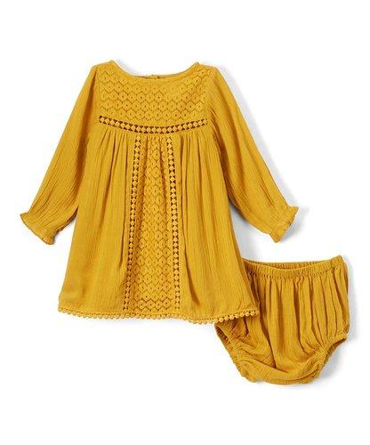 Mustard Lace Infant Dress - Kids Clothing, Dress - Girls Dress, Yo Baby Online - Yo Baby