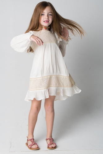Ivory Lace Detail Dress - Kids Clothing, Dress - Girls Dress, Yo Baby Online - Yo Baby