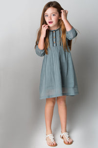 Grey Lace Detail Dress - Kids Clothing, Dress - Girls Dress, Yo Baby Online - Yo Baby
