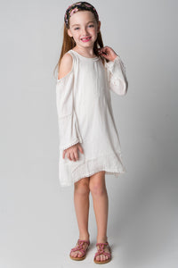 White Lace Detail Cold-Shoulder Dress - Kids Clothing, Dress - Girls Dress, Yo Baby Online - Yo Baby