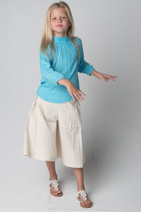 Cropped Pleated Pants and Smocked Top Two Piece Set