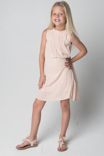 Blush Smocked & Ruffled Neck Dress