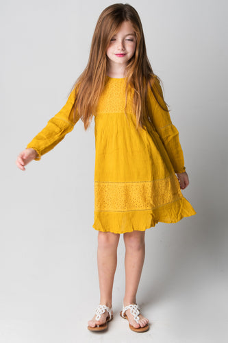 Mustard Lace Detail Dress