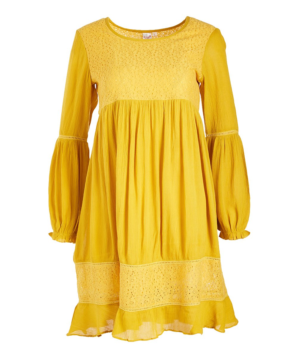 Yellow Lace-Accent Empire-Waist Dress