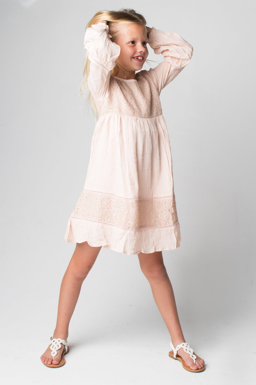 Blush Lace Detail Dress - Kids Clothing, Dress - Girls Dress, Yo Baby Online - Yo Baby