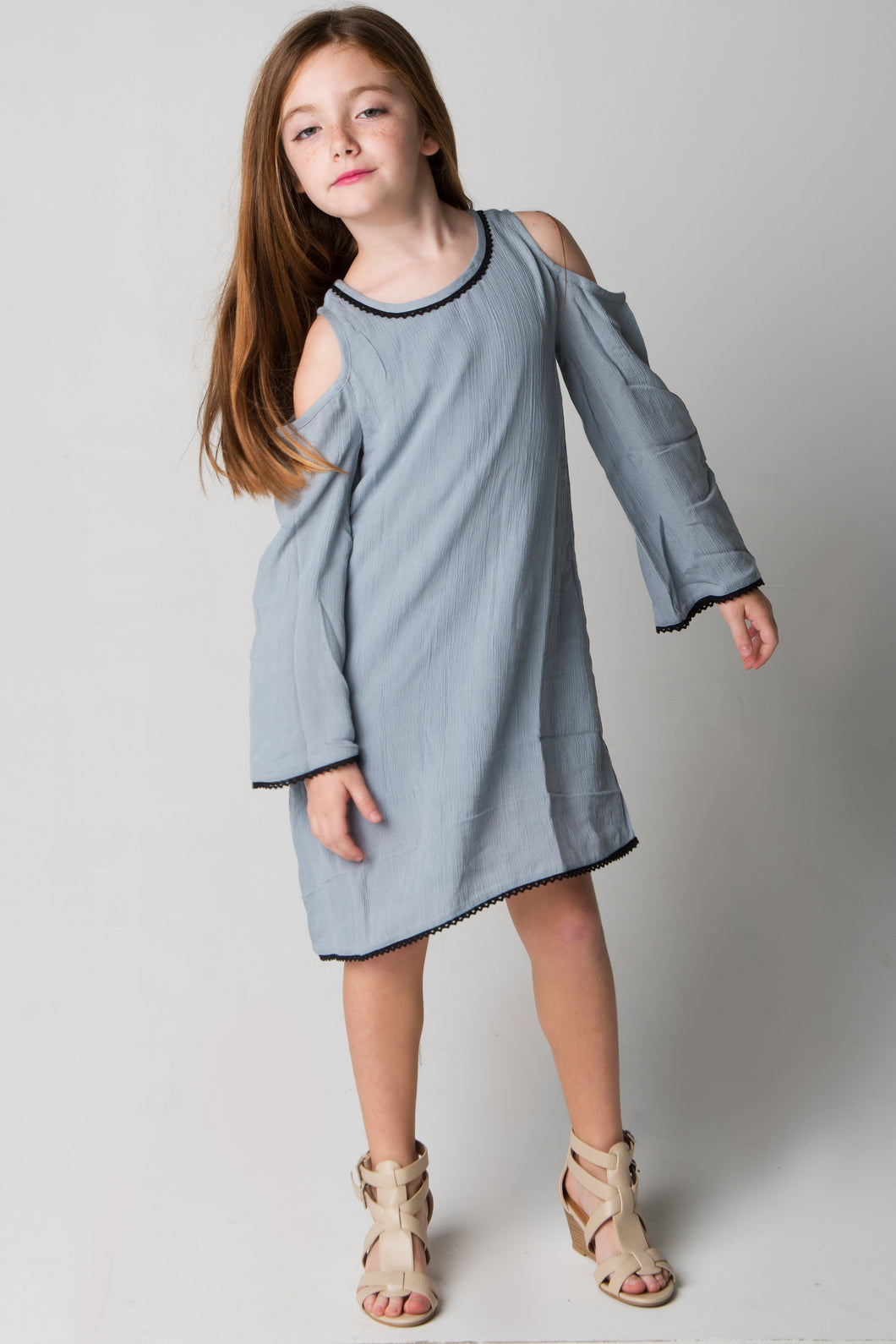 Grey Lace Detail Cold-Shoulder Dress - Kids Clothing, Dress - Girls Dress, Yo Baby Online - Yo Baby
