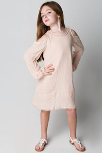 Blush Lace Detail Cold-Shoulder Dress - Kids Clothing, Dress - Girls Dress, Yo Baby Online - Yo Baby
