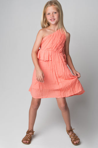 Coral Single Shoulder Pleats & Ruffles Dress