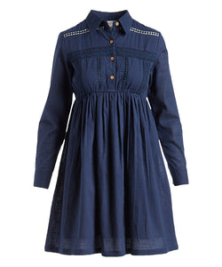 Navy Lace Detail Shirt-Dress