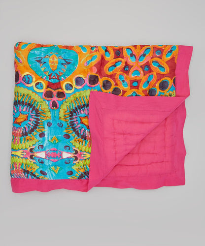 Kaleidoscope Inspired With Pink Trim Blanket
