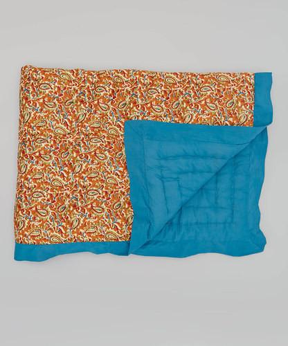 Ochre Paisley With  Turquoise Trim Blanket