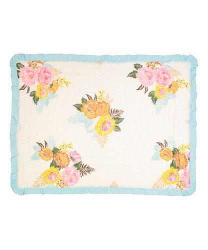 Vintage White Floral With Baby Blue Trim Blanket