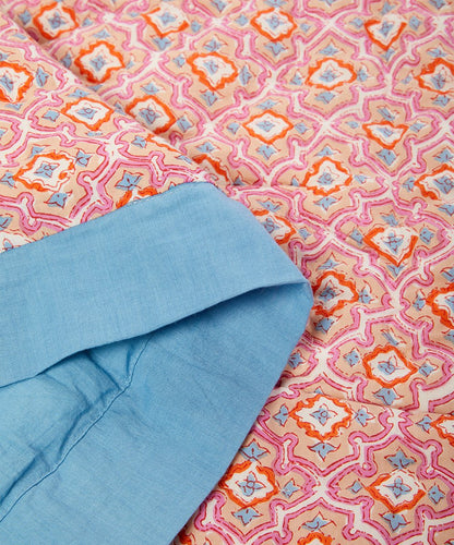 Sky Blue-Trim Abstract Quilted Blanket