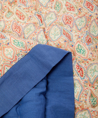 Cobalt Blue-Trim Paisley Quilted Blanket