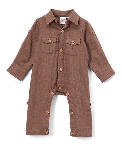 Boys Infant Full Sleeves Romper - Chocolate