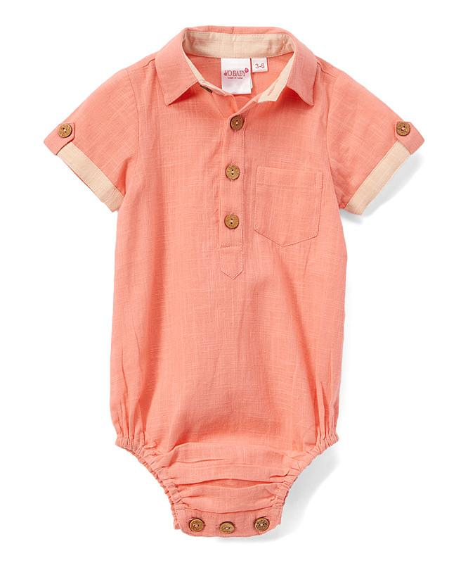 Infant Half-Sleeve Shirt Romper - Coral