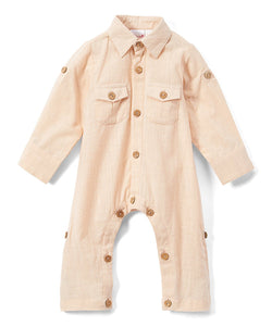 Boys Infant Full Sleeves Romper - Salmon