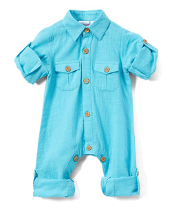 Boys Infant Full Sleeves Romper - Turquoise