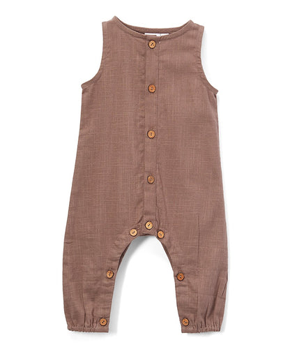 Boys Infant Sleeveless Romper - Chocolate