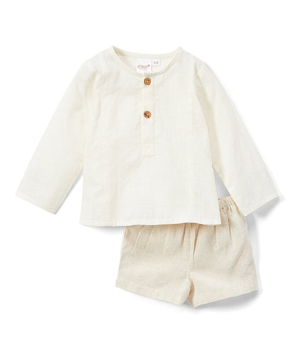 Ivory Henley Shirt With Linen Shorts Set