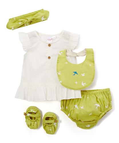 Parrot Green Blue Bird 5 pc. Set - Kids Clothing, 5-pc. Set - Girls Dress, Yo Baby Online - Yo Baby