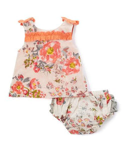 Off-White with Peach Vintage Rose 2pc.set Top and Bottom