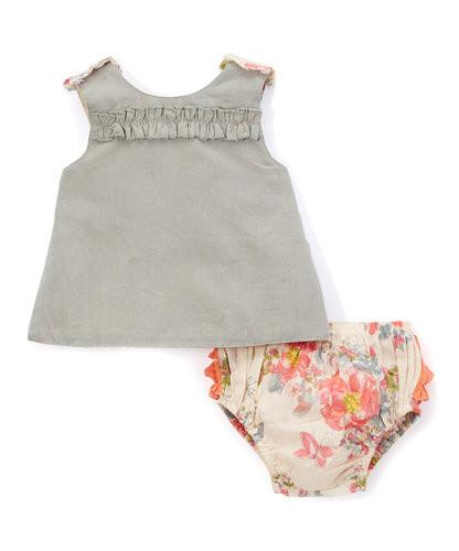 Grey and Peach Vintage Rose 2pc.set Top and Bottom - Kids Clothing, 2-pc. set - Girls Dress, Yo Baby Online - Yo Baby