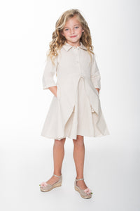 Off-White Front Flounce Dress - Kids Clothing, Dress - Girls Dress, Yo Baby Online - Yo Baby