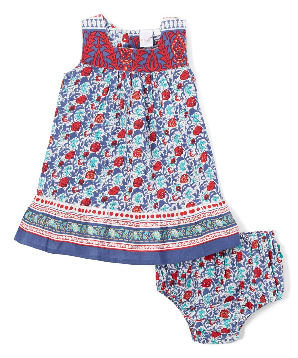 Red and Blue Floral Infant Dress - Kids Clothing, Dress - Girls Dress, Yo Baby Online - Yo Baby