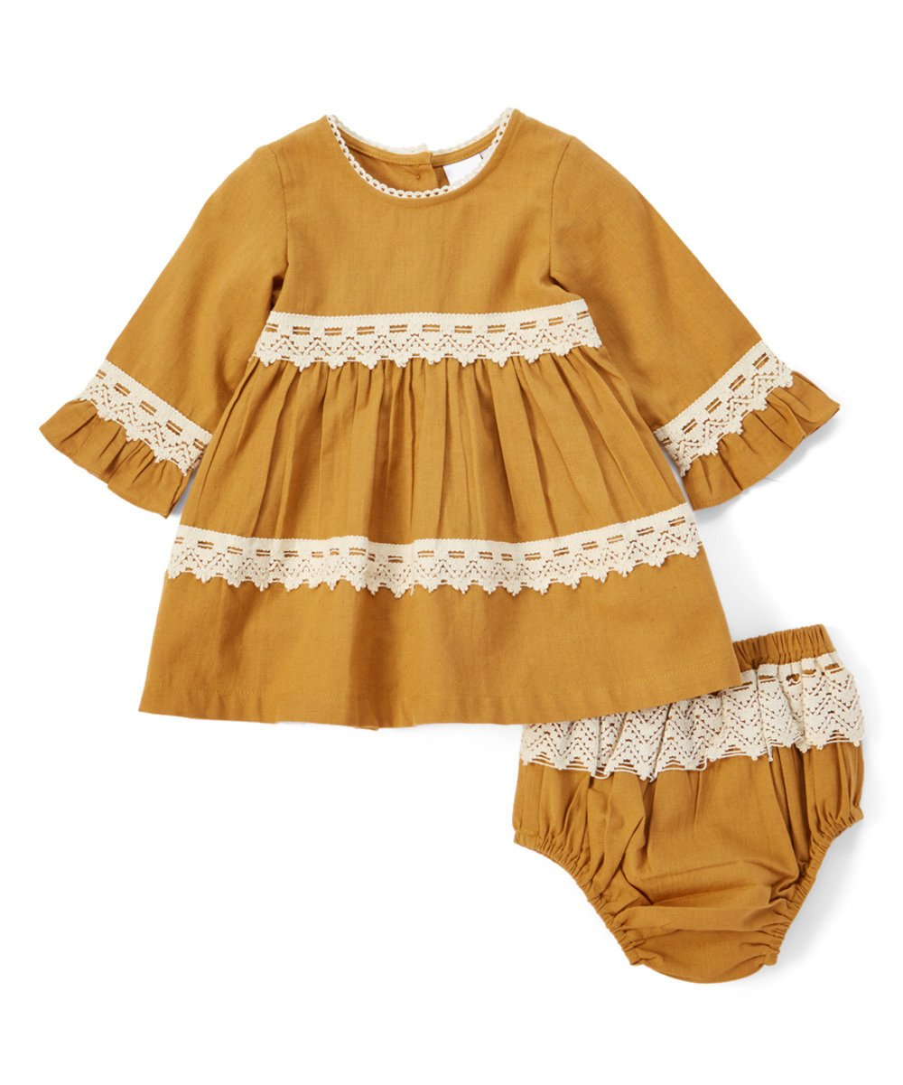 Mustard Lace Detail Dress - Kids Clothing, Dress - Girls Dress, Yo Baby Online - Yo Baby