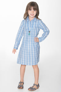 Blue Checks Shirt Dress - Kids Clothing, Shirt-Dress - Girls Dress, Yo Baby Online - Yo Baby
