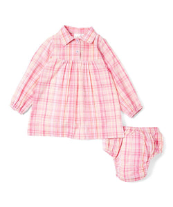 Pink Checks Lurex Infant Shirt Dress - Kids Clothing, Dress - Girls Dress, Yo Baby Online - Yo Baby