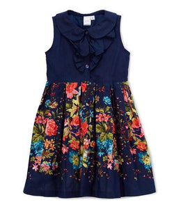 Floral Blue Frill Dress - Kids Clothing, Dress - Girls Dress, Yo Baby Online - Yo Baby