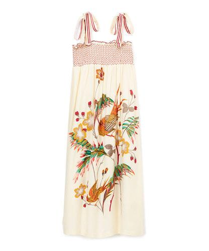Off-White Birds in the Garden Smocked Maxi Dress - Kids Clothing, Dress - Girls Dress, Yo Baby Online - Yo Baby