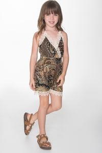 Black Paisley With Lace detail Jumpsuit - Kids Clothing, Dress - Girls Dress, Yo Baby Online - Yo Baby